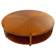 French Art Deco Round Rosewood Sunburst Coffee Table (Manner of Emile-Jacques Ru