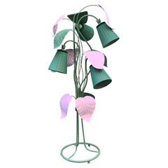 Enlightening Pink and Green Plant Floor Lamp with Our Hand-Sewn Lampshades,1950s