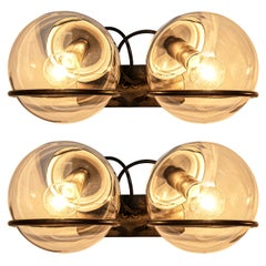 Gino Sarfatti for Arteluce Pair of Wall Lights Model '237' in Glass and Metal