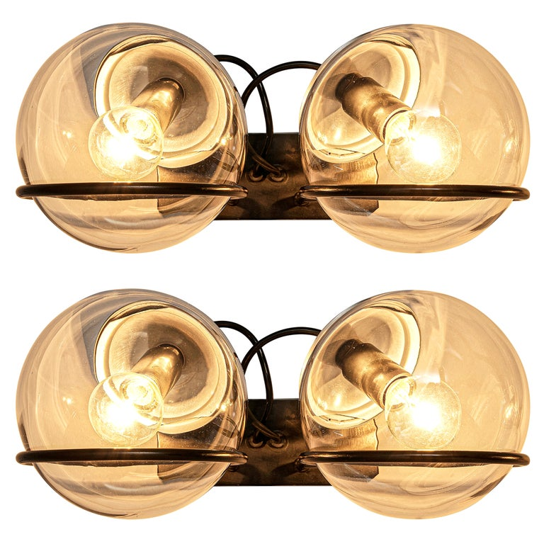 Gino Sarfatti for Arteluce Pair of Wall Lights Model '237' in Glass and Metal For Sale