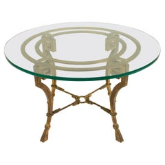 French Mid-Century Neoclassical Style Gilt Iron Coffee Table (Manner of Maison R