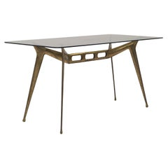 Italian Modern Coffee Table in Brass and Smoked Glass, 1950s