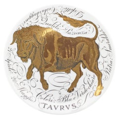 Piero Fornasetti Hand Painted Ceramic Zodiac Plates, Tavrvs, 1968
