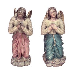 Pair of Renaissance Polychromed Winged Figures