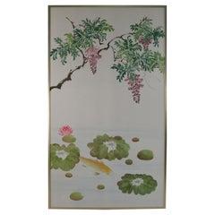 Pair of Mid-Century Koi Fish and Tree Painted Silk Panels