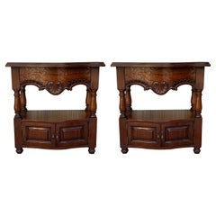 19th Century Pair of Catalan, Spanish Nightstands with Drawers & Low Open Shelf
