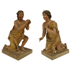 Pair of Renaissance Polychromed Kneeling Figures