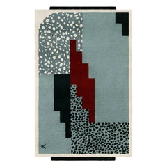 Art Deco 1 Blue, Wool Rug in Scandinavian Design
