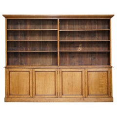 Stunning Large Antique Victorian Oak Library Bookcase Height Adjustable Shelves