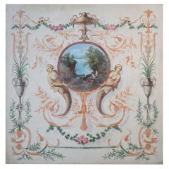 Neoclassical Landscape Painting with Floral and Mermaid Ornamentation