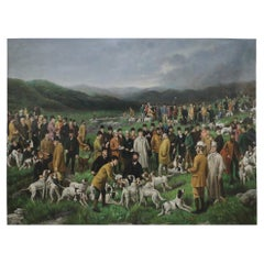 Large Men and Dogs Gathering for the Hunt Painting on Canvas