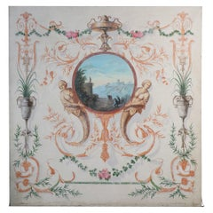Neoclassical Landscape Painting with Mermaid and Floral Ornamentation