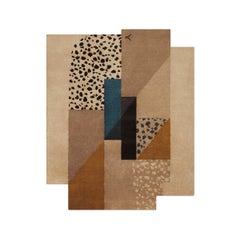 Art Deco 2 Brown, Wool Rug in Scandinavian Design