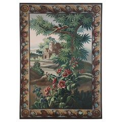 Aubusson Tapestry-Style Landscape Oil Painting on Canvas