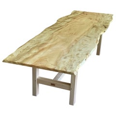 Live Edge Trestle Leg Dining Table in Oiled Maple