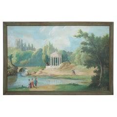 Framed Lakeside Gazebo and Landscape Painting