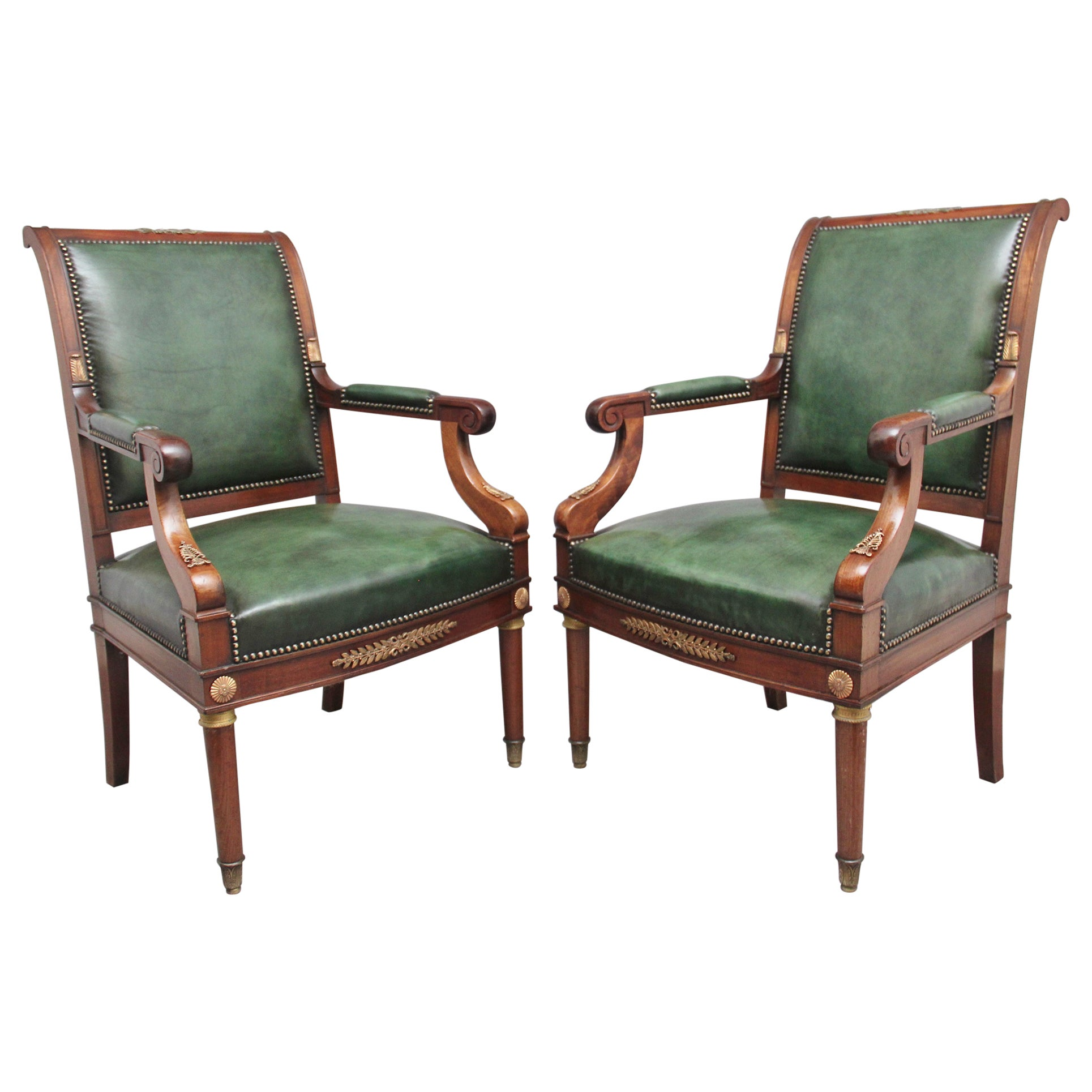 Pair 19th Century French Mahogany Armchairs