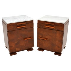 Pair of Art Deco Satin Birch Marble Top Bedside / Side Cabinets
