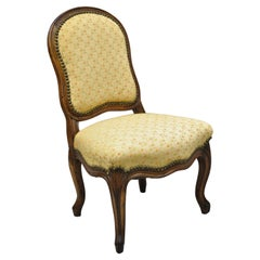 Small Antique French Provincial Louis XV Style Carved Walnut Boudoir Side Chair