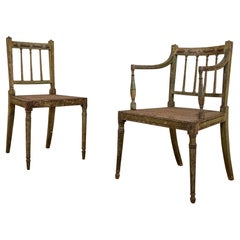 Charming Near Pair of Regency Green Painted Occasional, Elbow Chairs