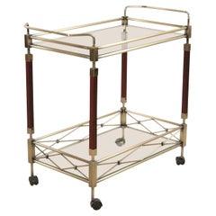 Contemporary Gilt Metal, Glass, and Wood Bar/Tea Cart