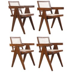 Pierre Jeanneret Set of 4 Chairs / Authentic Mid-Century Modern PJ-SI-28-B