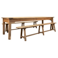 Large Scale 19th Century French Sycamore & Oak Farmhouse Table & Benches
