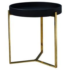 21st Century Minimalist Black Oakwood & Polished Brass T82DB Side Table