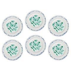Set of Six Hand-Painted Ceramic Dinner Plates Sofina Boutique Kitzbühel Austria
