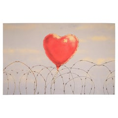 Heart Balloon on Barbed Wire Giclee Canvas Print