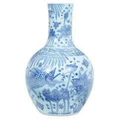 Large Decorative Blue and White Ceramic Chinese Vase