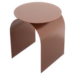 Spinzi Palladium Table in Hammered Copper, Round Top