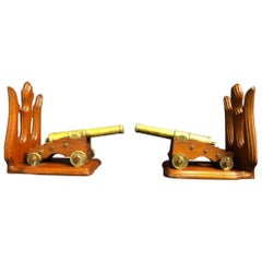 Pair of Bronze Cannons with Mahogany Stands, 19th Century
