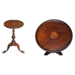 Lovely Antique Sheraton Revival Hardwood Tripod Side End Lamp Wine Table