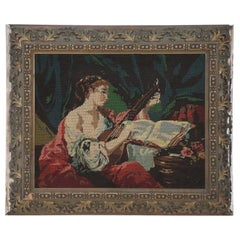 Woman Playing the Lute Tapestry in Frame