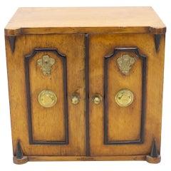 English Regency Oak Jewelry Cabinet