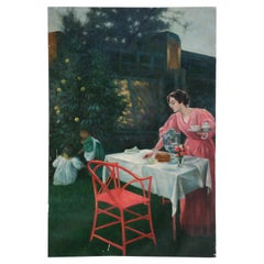 Woman and Children Outdoor Tea Oil Painting on Canvas