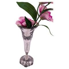 Shreve & Co. Sterling Silver Hand Hammered Art Nouveau Vase