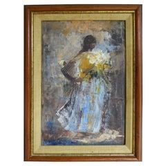 1965 Vasquez Parra Framed Impressionist Oil/Canvas Mother & Child w Calla Lilies