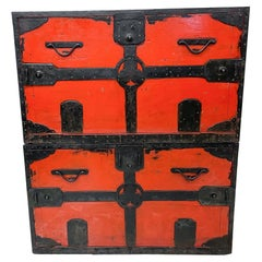 Pair Antique Chinese Qing RED Cabinet Wedding Dowry Chests Travel Trunk, 1900s