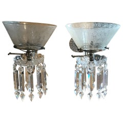 Pair of Crystal Gasolier Wall Sconces