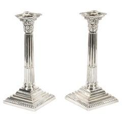 Antique Pair Silver Plated Candlesticks Corinthian column Late 19th C