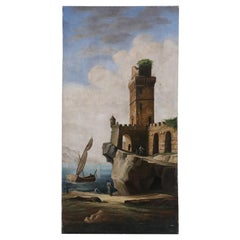 Castle on a Rocky Cliff at Sea Oil Painting on Canvas