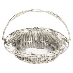 Antique Victorian Silver Plated Fruit Bread Basket 19th C