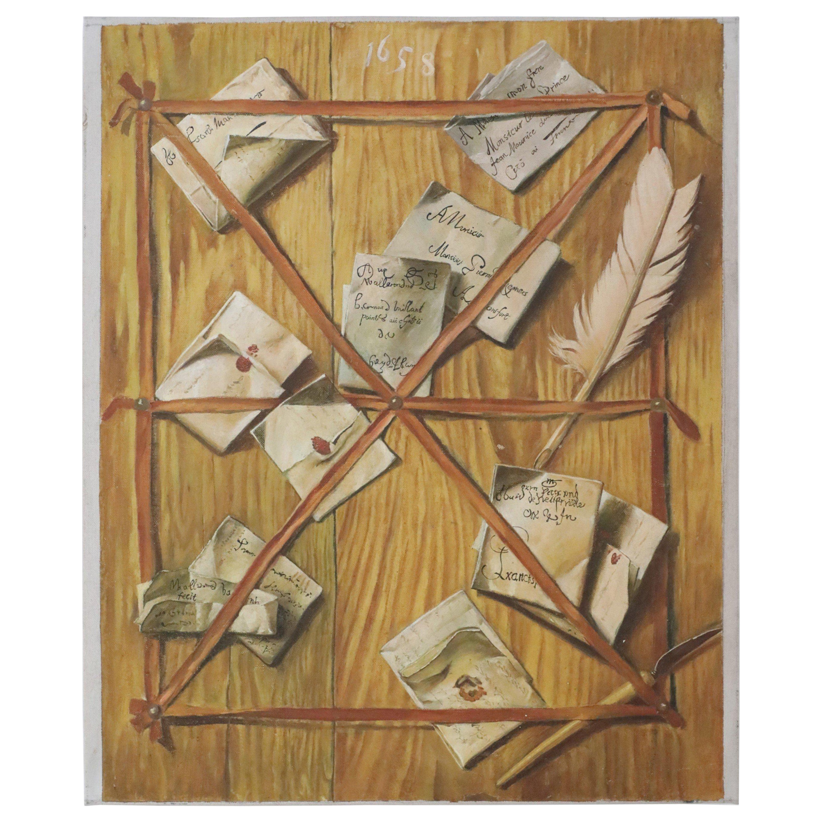 Trompe l'oeil Still Life Painting of Letters