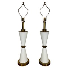 Milk Glass and Brass Hourglass Shaped Table Lamps