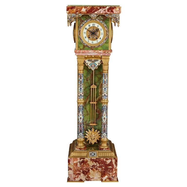French Renaissance Style Gilt Bronze and Enamel Mounted Onyx Longcase Clock For Sale