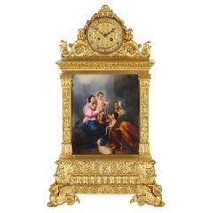 Large French Baroque Style Gilt Bronze and Porcelain Mantel Clock