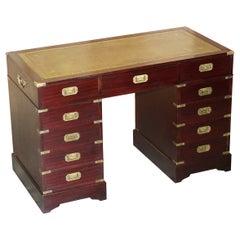Lovely Vintage Hardwood & Green Leather Military Campaign Partners Pedestal Desk