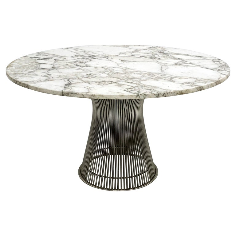 Warren Platner for Knoll Dining Table with Arabescato Marble Top For Sale